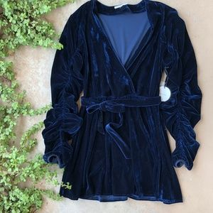 Tularosa Midnight Blue Tawney Velvet Wrap Dress